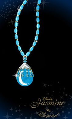 For Aladdin'sPrincess Jasmine, Chopard has created a pendant necklace, the lines of which fall in such a way that Jasmine's distinctive hour glass figure is echoed. Turquoise beads form the chain of the necklace while intertwined yellow gold bears a resemblance to Disney's own rendition of the character's jewellery. The main drop of the necklace is an impressive pear-shaped turquoise cabochon of 283cts dusted with diamonds.