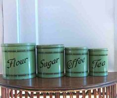 Complete Tin Canister Set Of 4 Green By BigHouseLittleHouse