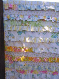 Ruffle Quilt from vintage sheets via Craftsy