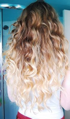curly with honey brown to blonde - doing this with my daughter and then coloring the tips!