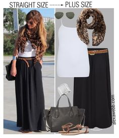 Straight Size to Plus Size - Black Maxi Skirt Outfit - Plus Size Fashion for Wom. - Plus Size Long Black Skirt Outfit, Maxi Skirt Outfit Summer, Maxi Skirt Black, Summer Outfit, Black Maxi Dress Outfit Ideas, Maxi Outfits, Long Skirt Outfits, Fashion Outfits, Trendy Outfits