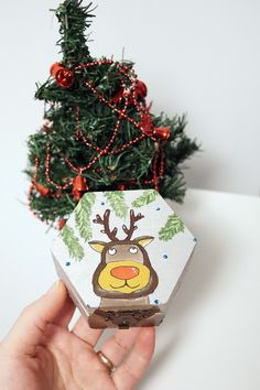Reindeer Christmas wooden box, Original hand painted Holiday gift for kids, Winter birthday gift, First Christmas gift for baby  #reindeer #christmas #box #kids #wooden #wood #nature #woodland #nursery #baby #firstchristmas #holiday #winter