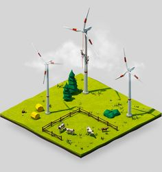 We were commissioned to design and animate a set of four key visuals for the energy provider »BayWa renewable energy«, which provides solar, wind, biogas, and geothermal power sollutions.