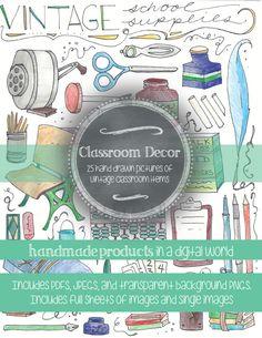 Vintage Classroom Supplies Clip Art: Hand Drawn Images in Classroom Clipart, Classroom Decor, Classroom Supplies, High School Art, Vector Hand, Hand Coloring, Art Lessons, Cover Art, Lesson Plans