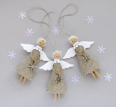 Burlap Christmas Angels Set of 3 Rustic Tree by VasilinkaStore