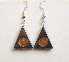 Hematite Dangle Earrings With Orange by SamsGemJewellery on Etsy