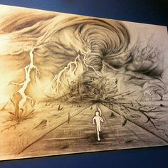 Cool #pencil #illustration by @art.k.town of a runner trying to outrun a massive #storm. That storm looks like a nightmarish blend of a #hurricane and a #tornado! Really great work #drawing the #winds and #clouds and #lightning... but I hope that little guy makes it out of that mess! Nice #artwork.  #NatureAirship