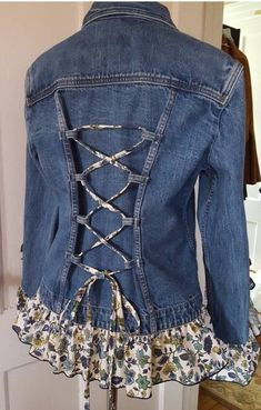 upcycle clothes no sew . upcycle clothes that dont fit . upcycle clothes for kids Artisanats Denim, Denim And Lace, Denim Shirts, Raw Denim, Jean Crafts, Denim Crafts, Diy Clothing, Sewing Clothes, Clothes Refashion