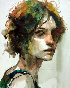Blue Spring, illustration by Byung Jun Ko - Ego - AlterEgo Watercolor Portrait Painting, Watercolor Face, Portrait Art, Painting & Drawing, Portrait Paintings, Portrait Ideas, Painting Abstract, Acrylic Paintings, Abstract Landscape