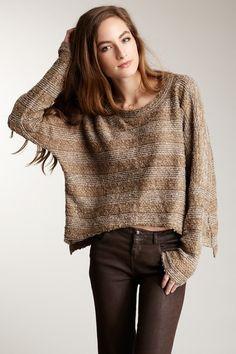 True Grit  Crop Boucle Stripe Sweater