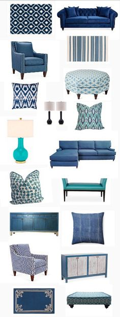 "Cobalt to turquoise and everything in between. Definitely the ""it"" color right now!"
