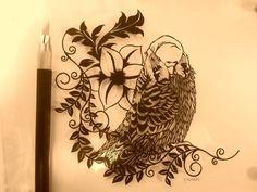 Budgie papercutting