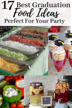 17 Graduation Party Food Ideas Guaranteed to Make Your Party - Cassidy Lucille Easy graduation party food ideas. High school graduation party food ideas including appetizers and grad party food ideas if you're on a budget. Outdoor Graduation Parties, Graduation Party Planning, Graduation Party Themes, College Graduation Parties, Graduation Celebration, Graduation Ideas, Grad Parties, Grad Party Decorations, Birthday Parties