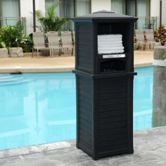 Lakeland Towel Valet In Black - The Lakeland Towel Valet is the perfect addition to any pool or exercise room. The louvered design captures the relaxed feeling of a seaside resort making this item perfect for your spa and fitness areas. Pool Towel Storage, Pool Towels, Pool Towel Holders, Luxury Swimming Pools, Luxury Pools, Dream Pools, Black Towels, Pool Furniture, Outdoor Furniture