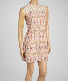 Another great find on #zulily! Beige Abstract Sheer Sleeveless Dress by Tulle #zulilyfinds