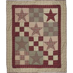 Star Patch Primitive Country Throw Quilt
