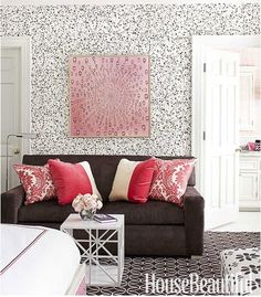 Love this wallpaper and the room's look - makes me rethink some condo decor strategy ...