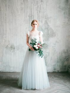 Romantic grey wedding dress Neva lace and tulle