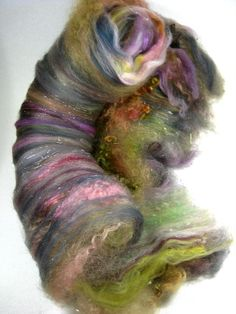 Morning Light Wild Card Bling Batt for Spinning and by yarnwench, $30.00