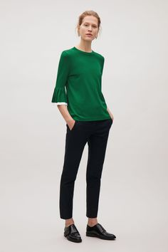 COS image 4 of Pleated sleeve jumper in Bottle Green