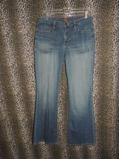 Momento Women's Stretch Flap & Button Whiskers Boot Cut Denim Blue Jeans Size 10 #Momento #BootCut