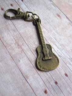 Guitar Keychain Unisex Key Clip Gift For Him Etsy Dudes Diy Leather Gifts, How To Better Yourself, Antique Brass, Gifts For Him, Guitar, Unisex, Metal, Key, Jewelry