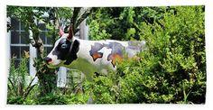 Cow Beach Towel featuring the photograph Cow Statue by Cynthia Guinn
