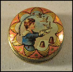 Stollwerk's magic box tin  5cm diam.  1900