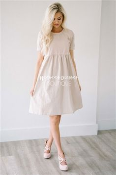 Cream Eyelet Lace Cotton Modest Church Dress | Best and Affordable Modest Boutique | Cute Modest Dresses and Skirts for Church