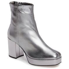 Women's Topshop Margarita Platform Boot ($75) ❤ liked on Polyvore featuring shoes, boots, silver, platform boots, silver platform shoes, block heel platform shoes, silver shoes and platform shoes