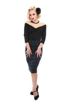 Collectif Mainline Polly Blackwatch Pencil Skirt
