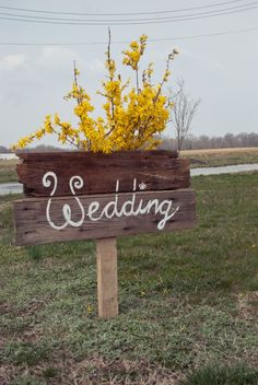 Wood Wedding Sign - For the road to the venue