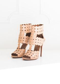 Sandales à Talon Chevreau Cerclé Nude