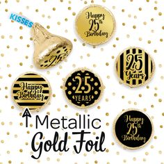 Black and Gold Birthday Metallic Foil Party Favor Stickers - Use these shiny metallic foil stickers to make black and gold birthday party favors and decorations. 50th Birthday Party Favors, 90th Birthday Decorations, Birthday Party Centerpieces, 70th Birthday, Birthday Desserts, Husband Birthday, Birthday Ideas, Candy Bar Labels, Metallic