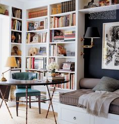Bookshelf Styling 101 - love the wall light and the dark color pop. Smart use of space too.