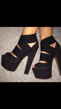 Thick strap platform heels
