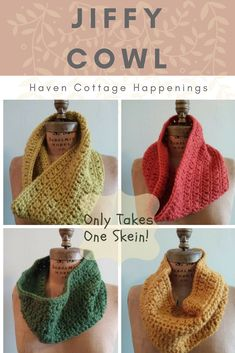 Terrific Pic Crochet cowl one skein Tips Free pattern from Haven Cottage Happenings. Only takes one skein! One Skein Crochet, Crochet Scarves, Crochet Shawl, Crochet Clothes, Free Crochet, Crochet Ideas, Crochet Projects, Crocheted Hats, Crochet Granny