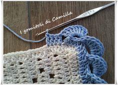 Copertina a uncinetto con punto rombi e bordo a onde: i tutorial di Camilla Crochet Doily Rug, Crochet Blanket Edging, Crochet Edging Patterns, Crochet Dishcloths, Crochet Borders, Crochet Trim, Crochet Stitches, Crochet Flowers, Crochet Edgings