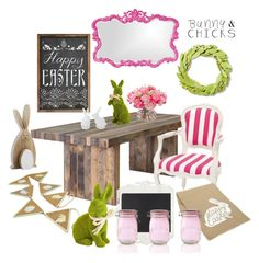 """Bunnies & Chicks"" by missblue1 ❤ liked on Polyvore featuring interior, interiors, interior design, home, home decor, interior decorating, Dot & Bo, Pier 1 Imports, Howard Elliott and Sur La Table"