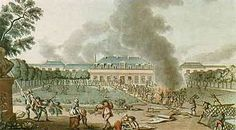 Réveillon Riots.  April 28, 1789, workers at The Réveillon Walpaper Factory in the St. Antoine district of Paris, fearing pay cuts, destroyed the factory as well as the home of its owner Jean-Baptiste Réveillon.  Political slogans were chanted.  French troops were called in to restore order.