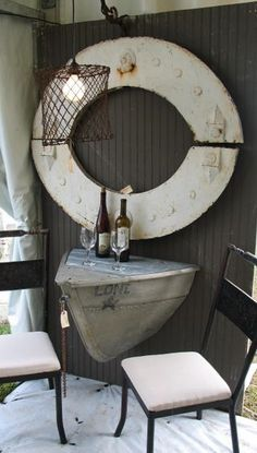 Ideas for Decorating a Nautical Home - seaside nautical design ideas Nautical Design, Nautical Home, Vintage Nautical Decor, Nautical Gifts, Nautical Table, Nautical Bedding, Coastal Living, Coastal Decor, Boat Table