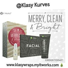 ORDER TODAY --- MERRY, CLEAN & BRIGHT   Shine bright with a more youthful glow when you cleanse, exfoliate, and hydrate with these skin-renewing favorites. Includes Cleanser, Facial Wraps, and Exfoliating Peel.  • Wrap your way into trim holiday form in as little as 45 minutes  • Keep it secure with soft, hypoallergenic Fab Wrap  • Lessen the appearance of cellulite and improve skin texture  • Wash away oil, dirt, and impurities with silky, soap-free lather  • Peel away skin dulling debris…