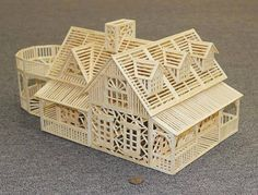 Model home built with popsicle sticks Popsicle Stick Crafts House, Popsicle Sticks, Craft Stick Crafts, Wood Crafts, Popsicle Bridge, Matchstick Craft, Balsa Wood Models, Bridge Design, Wooden Projects