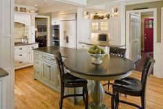 Kitchen, Cool Picture Round Kitchen Island Nice Circle Table Designs Black Color Good Two Chairs Nice Kitchen Island Design Good White Wall: Unique Designs Of Kitchen Island Table Combination That Looks So Perfect Round Kitchen Island, Kitchen Island With Seating, Kitchen Islands, Island Bench, Kitchen Island With Table Attached, Kitchen Island Extension Ideas, Island Sinks, Kitchen Redo, New Kitchen