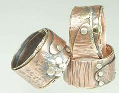 Metal Jewelry Wrapped Rings - Mixed Metal, Sterling and Copper Metal Clay Rings, Mixed Metal Jewelry, Metal Clay Jewelry, Copper Jewelry, Wire Jewelry, Jewelry Art, Sterling Silver Jewelry, Jewelry Accessories, Jewelry Design