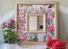 Купить или заказать рамка с зеркалом ' розы и вишня' в интернет-магазине на Ярмарке Мастеров. зеркало оформлено керамической плиткой с авторским рисунком, над глазурными красками.Обжигалась плитка в муфельной печи при высокой температуре.Работа выполнена в приятной цветовой гамме и впишется в любой интерьер.