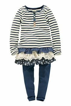 Buy Stripe Frill Hem Dress And Leggings 2 Piece Set from the Next UK online shop ~this is so Zola! Leggings, Girl Fashion, Fashion Ideas, Next Uk, Uk Online, No Frills, Diy For Kids, Cute Babies, Kids Outfits
