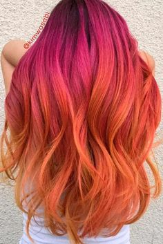 45 Trendy Ombre Hair Color Ideas Want to try ombre hair, but not sure what look? We have put together a list of the hottest ombre looks for you to try! Why not go for a new exciting look? Vivid Hair Color, Hair Dye Colors, Ombre Hair Color, Pink And Orange Hair, Pink Peach Hair, Pink Yellow, Magenta, Purple, Pelo Multicolor