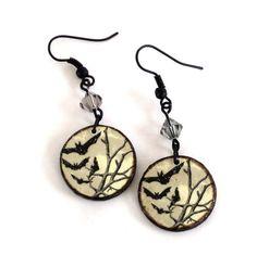 Halloween Earrings Goth Earrings Decoupaged Earrings by rrizzart, $10.00