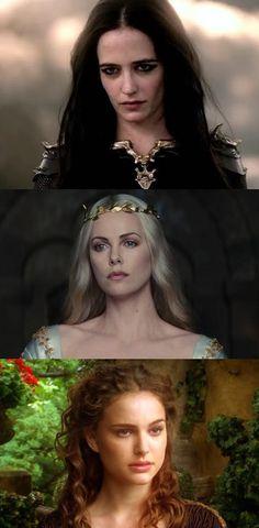 Maeve (darkness), Mab (swan) and Mora (hawk)